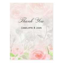 Rose Garden Modern Floral wedding Thank You notes Postcard