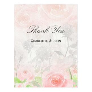 Rose Garden Modern Floral wedding Thank You notes Postcard
