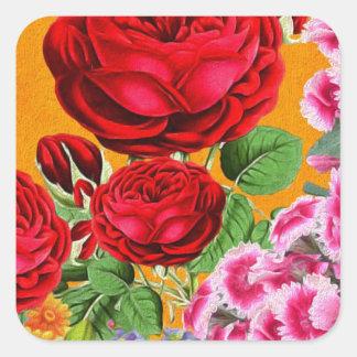 Rose Garden Orange Background Square Sticker