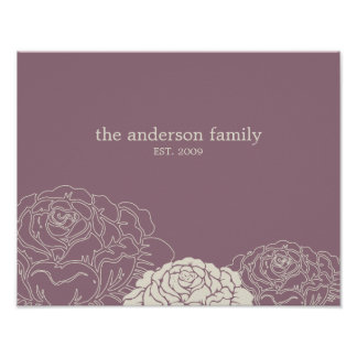 Rose Garden Personalized Wall Art - Violet -