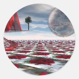 Rose garden round stickers