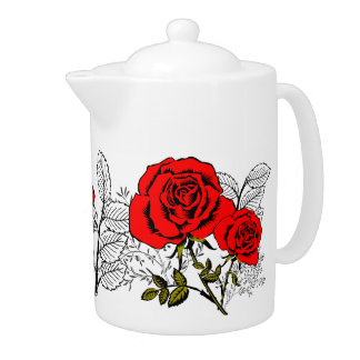 Rose garden. teapot