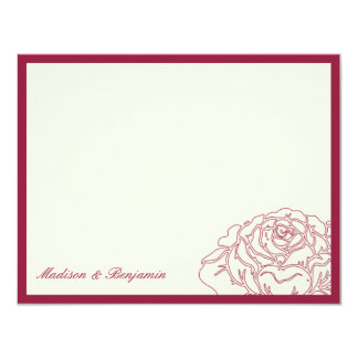 Rose Garden Thank You Card - Rich Red