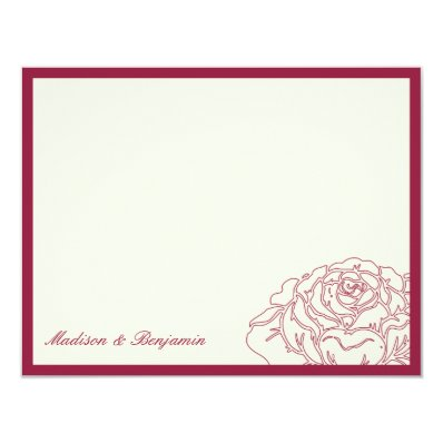 Rose Garden Thank You Card - Rich Red