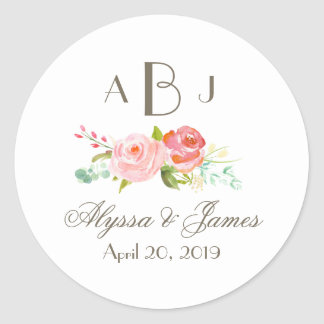 Rose Garden Three Letter Monogram Label