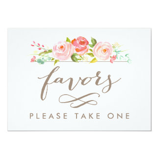 Rose Garden Wedding Favors Please Take One Print Card