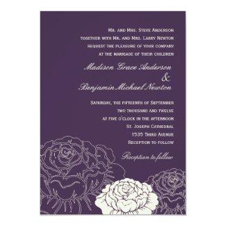 Rose Garden Wedding Invitation - Purple