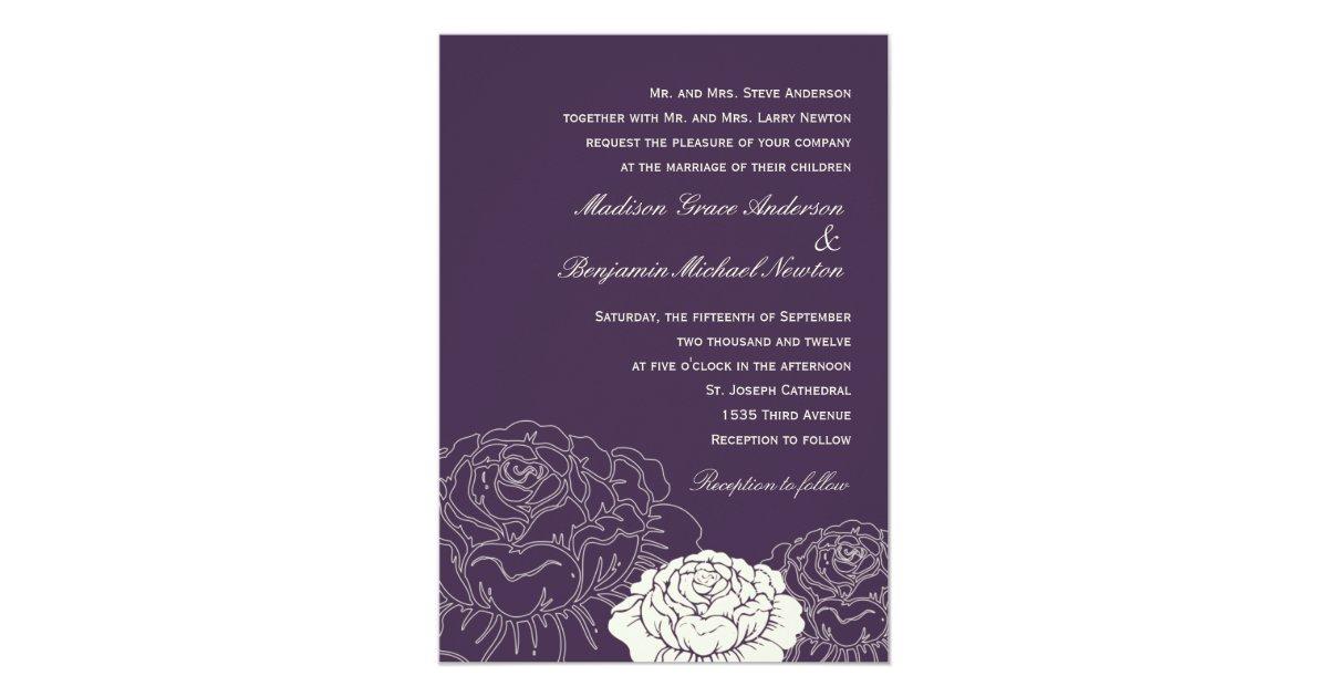 Purple Rose Wedding Invitations: Rose Garden Wedding Invitation - Purple