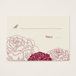 Rose Garden Wedding Place Card - Rich Red