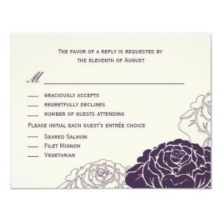 Rose Garden Wedding RSVP Card - Purple