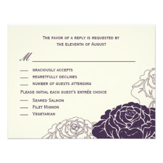 Rose Garden Wedding RSVP Card - Purple Personalized Invitations