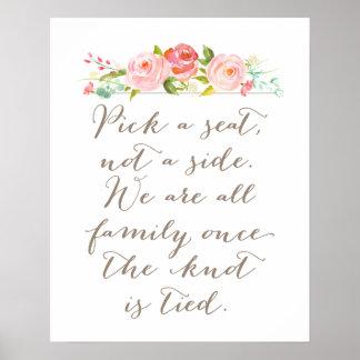 Rose Garden Wedding Sign | Pick A Seat, Not A Side
