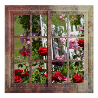 Rose Garden Window Scene Poster