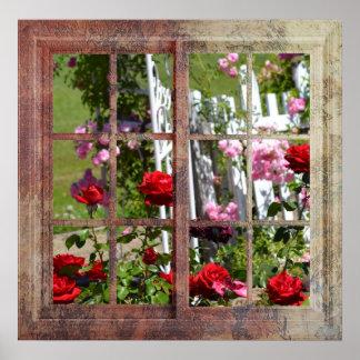 Rose Garden Window Scene Poster