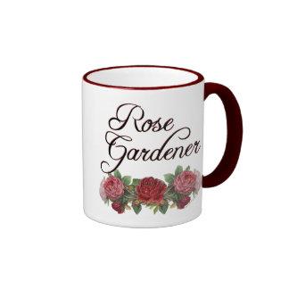 Rose Gardener Saying with Roses Ringer Mug