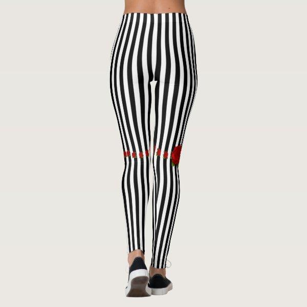 Rose Garters Classic Stripe Gothic Leggings
