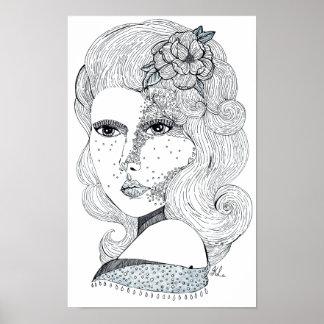 Rose Girl (B&W) Poster