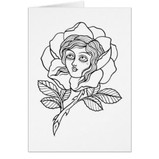 Rose girl greeting card