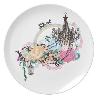 Rose girl reinbow plate