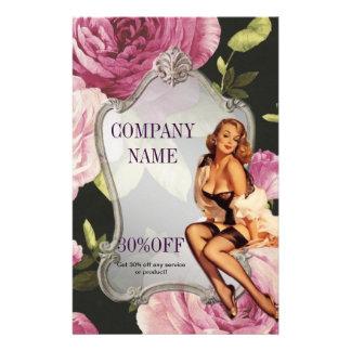 "rose girly makeup artist retro fashion 5.5"" x 8.5"" flyer"