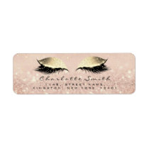 Rose Glitter RSVP Return Address Eye Lashes Makeup Label