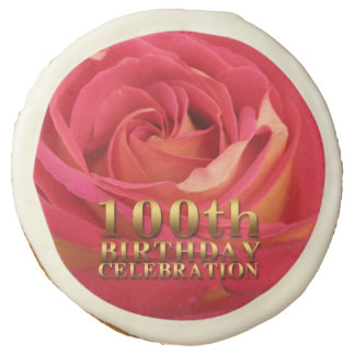 Rose Gold 100th Birthday Celebration Cookies
