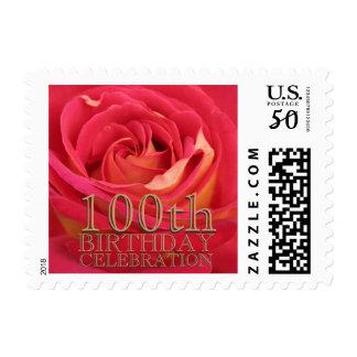 Rose Gold 100th Birthday Celebration Custom Stamps