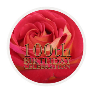 Rose Gold 100th Birthday Party Frosting Round