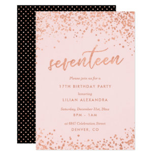 Rose Gold 17th Birthday Invitation | Faux Foil