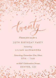 Rose Gold 20th Birthday Invitation