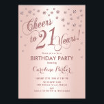 """Rose Gold 21st Birthday Party Invitation<br><div class=""""desc"""">21st Birthday Party Invitation Elegant design with faux glitter rose gold and foil effect. Sparkly glitter diamonds confetti and stylish script font invite card. Glam blush pink and white. Cheers to 21 Years! Please message me if you need further customization.</div>"""