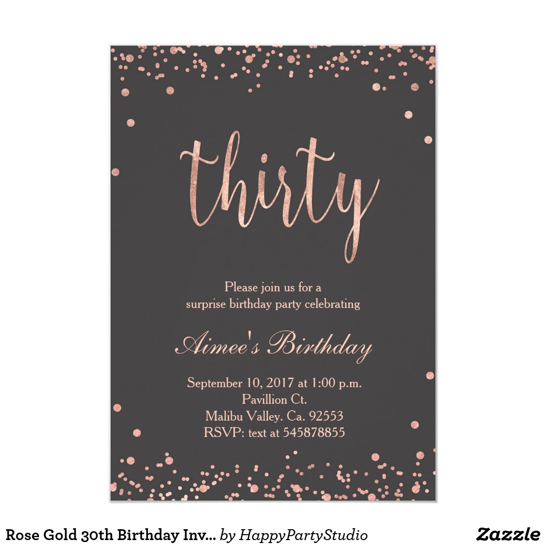 Rose Gold 30th Birthday Invitation