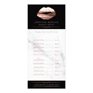 Rose Gold 3D Lips Marble Beauty Salon Price List Rack Card
