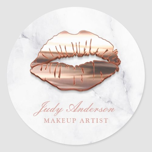 Rose Gold 3D Lips Marble Look Makeup Artist Classic Round Sticker