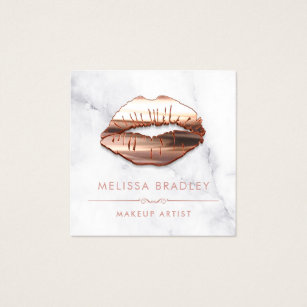 3d business cards templates zazzle rose gold 3d lips marble look makeup artist square business card cheaphphosting Images