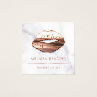 Rose Gold 3D Lips Marble Look Makeup Artist Square Business Card