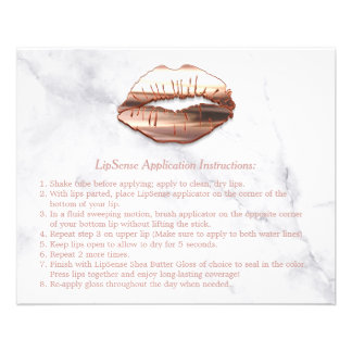 Rose Gold 3D Lips Marble Makeup Instruction Tips Flyer