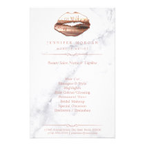 Rose Gold 3D Lips Marble Texture Beauty Salon Flyer