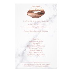Rose Gold 3d Lips Marble Texture Beauty Salon Flyer at Zazzle