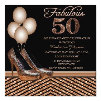 Rose Gold 50th Birthday Party Invitatio Card