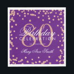 "Rose Gold 80th Birthday Glitter Confetti Purple Napkin<br><div class=""desc"">Elegant &amp; Modern 80th Birthday Rose Gold Faux Glitter Confetti Purple design.</div>"
