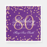 Rose Gold 80th Birthday Glitter Confetti Purple Napkin