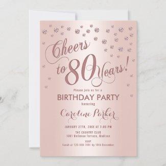 Rose Gold 80th Birthday Party Invitation