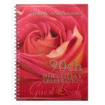 Rose Gold 90th Birthday Celebration Guest Book Spiral Notebook