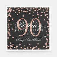 Rose Gold 90th Birthday Glitter Confetti Black Napkin