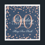 "Rose Gold 90th Birthday Glitter Confetti Navy Blue Napkin<br><div class=""desc"">Elegant &amp; Modern 90th Birthday Rose Gold Faux Glitter Confetti Navy Blue design.</div>"