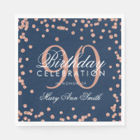 Rose Gold 90th Birthday Glitter Confetti Navy Blue Napkin