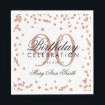 "Rose Gold 90th Birthday Glitter Confetti White Napkin<br><div class=""desc"">Elegant &amp; Modern 90th Birthday Rose Gold Faux Glitter Confetti White design.</div>"