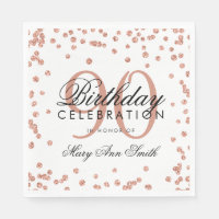 Rose Gold 90th Birthday Glitter Confetti White Napkin