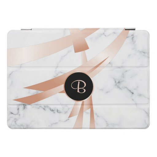 Rose Gold Abstract Art White Marble Monogram  iPad Pro Cover